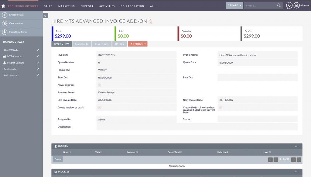 Manage recurring invoice in SuiteCRM