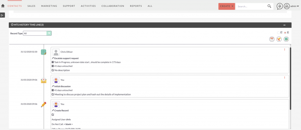 SuiteCRM Addon - MTS History Time Line V2-subpanel view