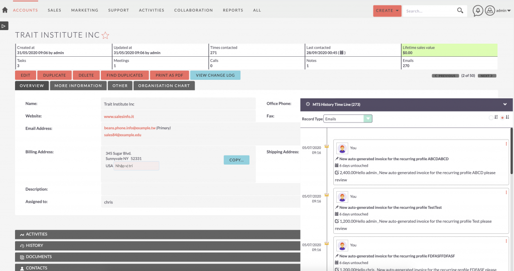 SuiteCRM Addon - MTS History Time Line V2- Panel View