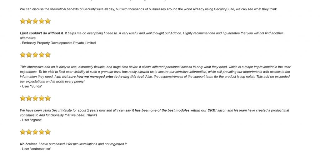 Client reviews on SecuritySuite - Enhanced SuiteCRM Teams