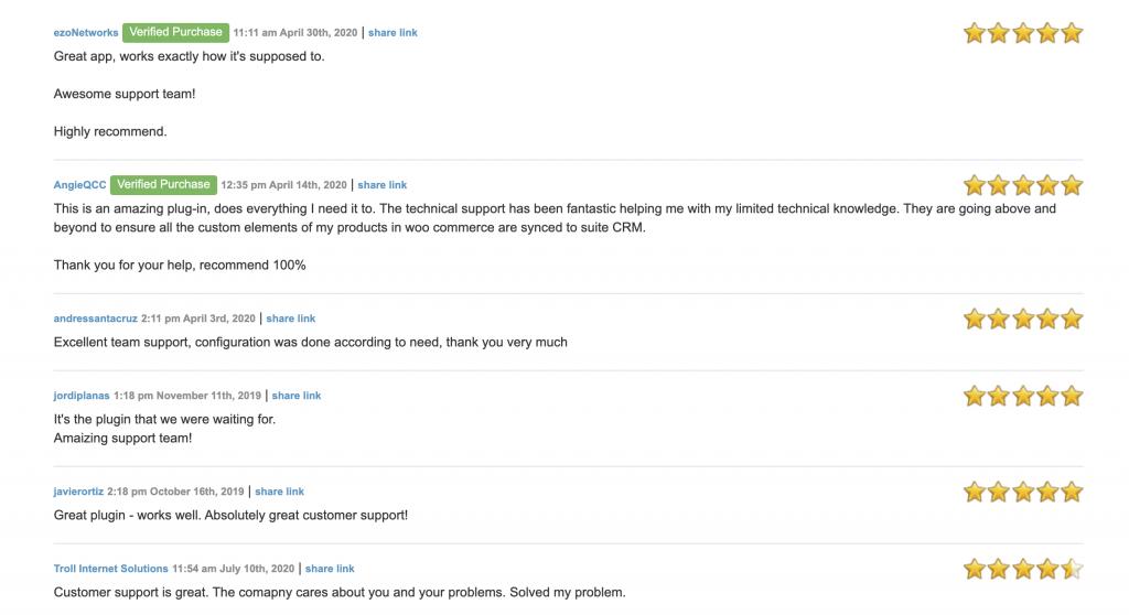 The client reviews on SuiteCRM Woocommerce plugin