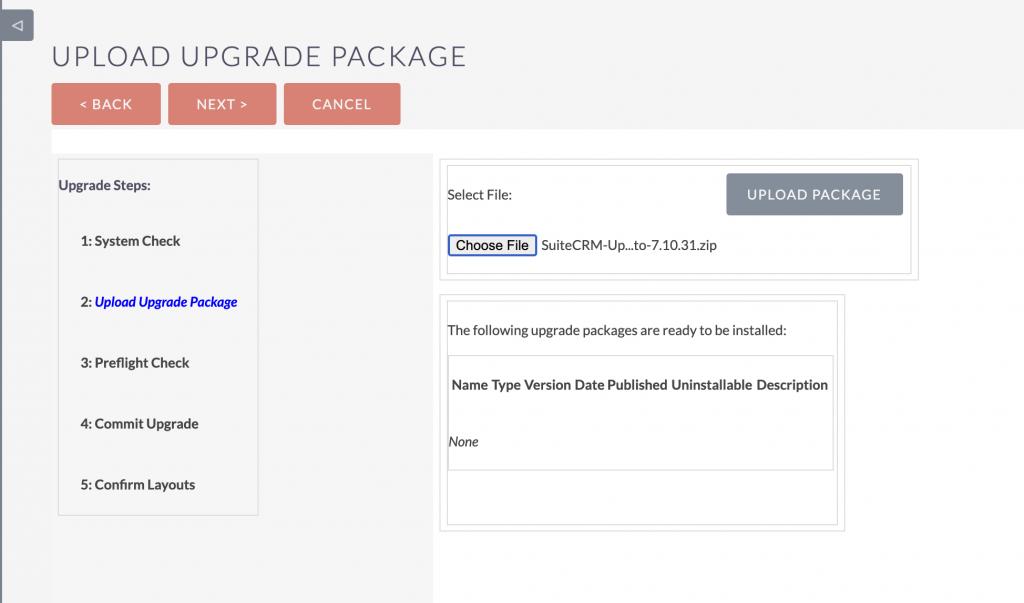 SuiteCRM upload upgrades package