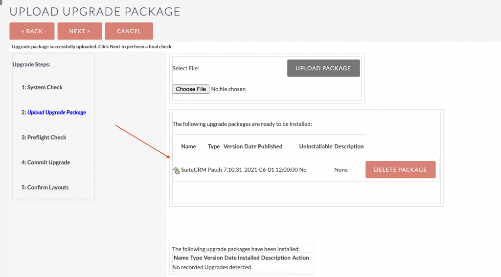 SuiteCRM upgrade packages upgraded