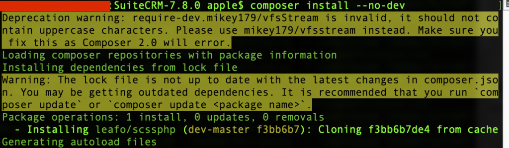 SuiteCRM upgrade install dependencies