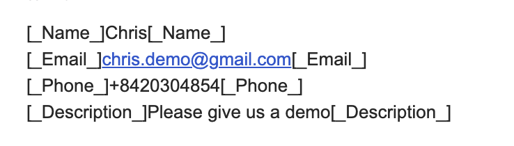 Lead information contain in contact email